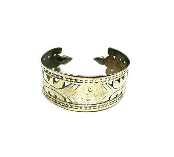 Vintage Afghan Metal Spike Cutout Cut out Tribal Nomad Adjustable Artisan Bracelet Silver Tone Middle Eastern Jewelry Cuff Bangle Boho Chic
