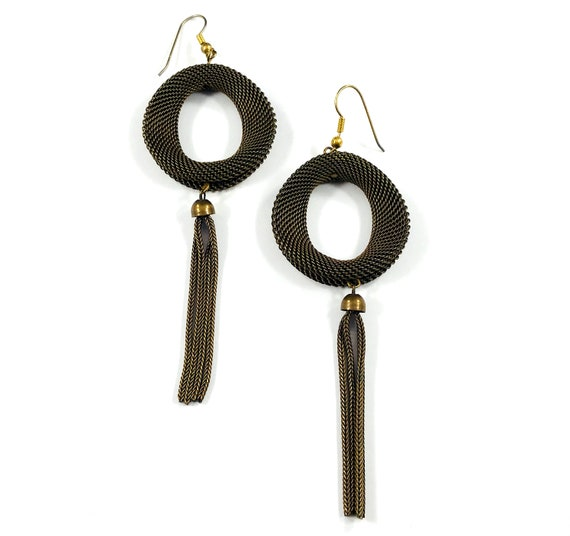 Vintage Metal Mesh Bronze Copper Tassel Hoop Dangle Hook Statement Earrings Pierced Boho Hippie Tribal Chic