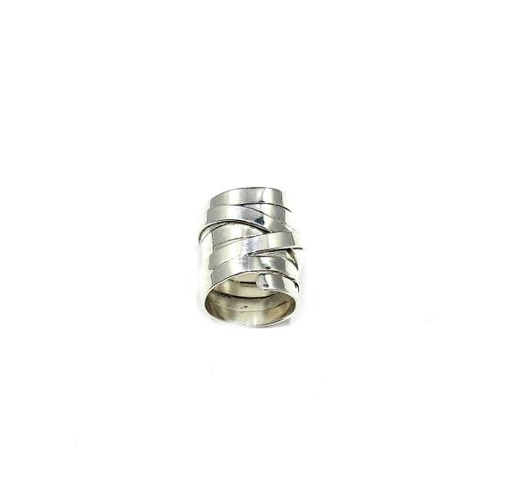 UNIQUE Artisan Wraparound SILVER 925 Bandage Style STATEMENT Brutalist Large Statement Ring Size 5
