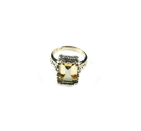 STUNNING Citrine Sterling Silver 925 COCKTAIL Boho Bohemian Gypsy Glamour Statement Ring Filigree Artisan Details Size 8
