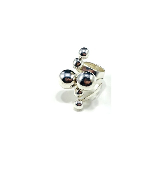 Unique Artisan Sterling Silver Bubble Statement Cocktail Ring Wearable Art Boho Bohemian Size 5.5