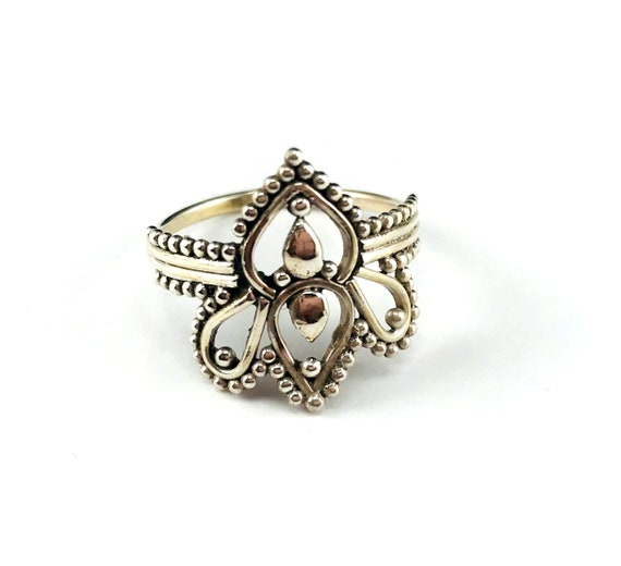 Silver Lotus Mandala Filigree Hippie Indian Hippie Ring Boho Chic Size 9