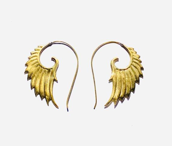 STUNNING Angel Wing Earring Cuff Pierced or not Pierced Gothic Boho Wings Gold Tone Brass Earrings