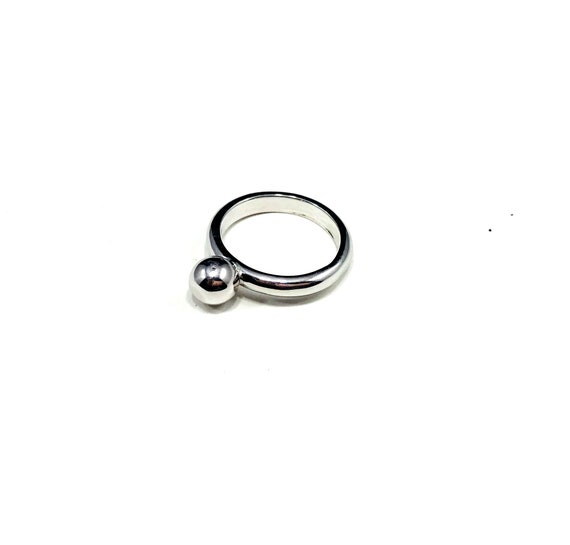 MINIMALIST Single Bead Boho Boho Chic SILVER Ring Size 7.5 Stackable Unique
