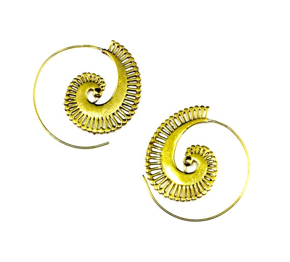 GOLD Tone Brass Shell Spiral Hoop Earrings Middle Eastern Indian Boho Bohemian Chic Artisan Festival