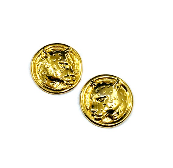 Vintage GOLD Tone Carved LEOPARD Button Coin Disc Earrings Pierced 80's 90's Metal Glamour Cool Animal Print Cats