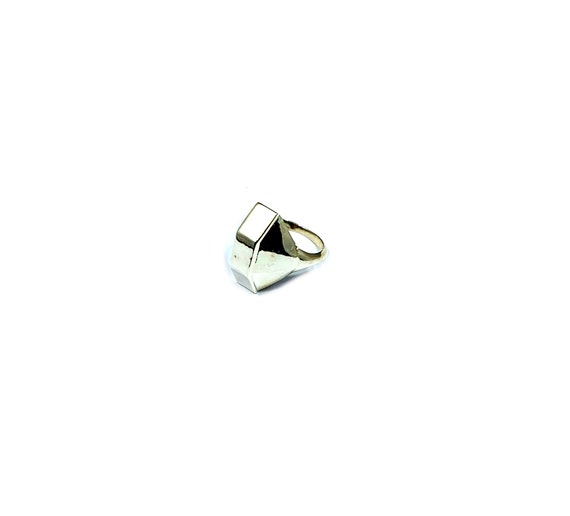 Chunky GEOMETRIC Minimalist Artisan Ring Sterling SILVER Industrial Statement Jewelry Size 7