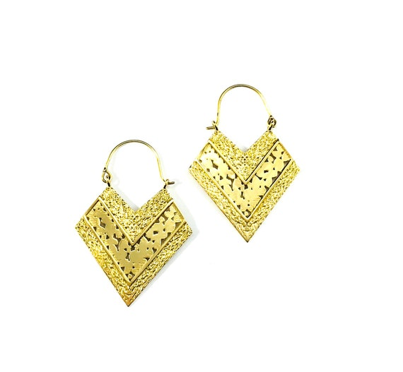 GOLD Tone Brass Metal Geometric Diamond Triangle Cut Out Detail Indian Middle Eastern Artisan Earrings Jewelry Boho Bohemian Chic Design