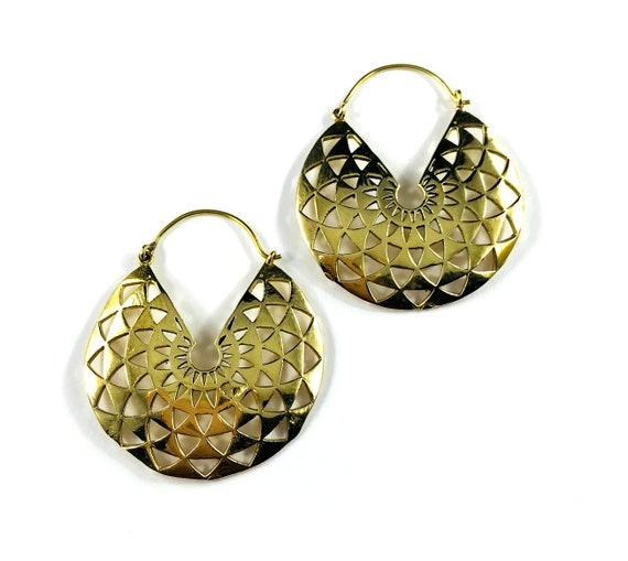 GOLD Color Brass 3/4 Circle Geometric Cutout Metal Hoops Boho Hippie Chic Bohemian Gypsy Pierced Statement Earrings Artisan Lattice