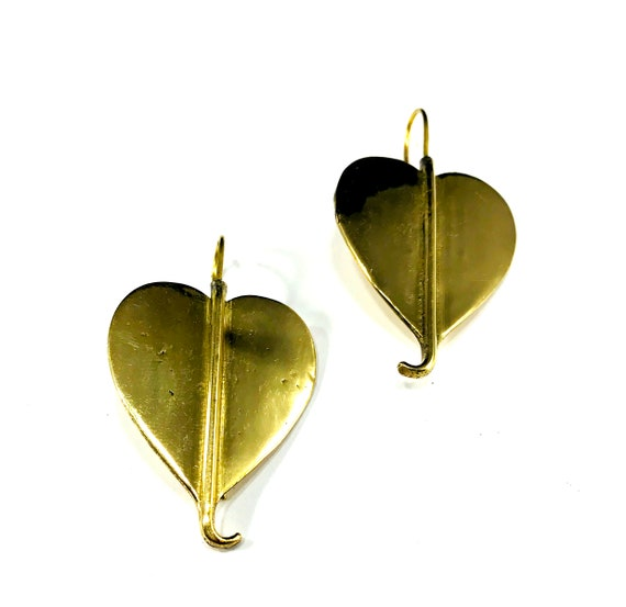 Vintage GOLD Tone Leaf BRASS Heart Loop Hook Dangle Earrings Indian Middle Eastern Metal Tribal Jewelry