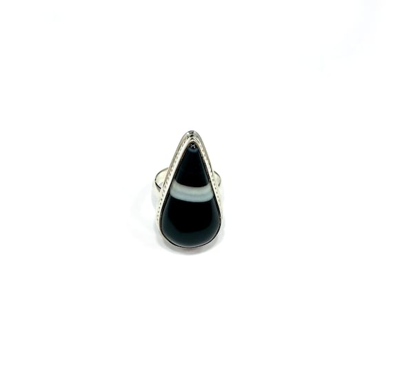 STUNNING! Statement Black White AGATE Stone Statement Ring Boho Bohemian Goth Gothic Spike Sterling Silver Size 6.5