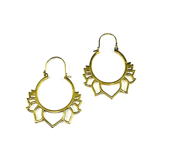 GOLD Tone BRASS Cutout LOTUS Flower Floral Hoops Hoop Earrings Indian Middle Eastern Metal Boho Chic Bohemian Metal Jewelry
