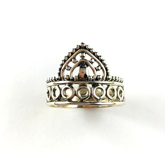 Silver Boho Chic Bohemian Hippie Crown Carved Tribal Stackable Unique Ring Size 8