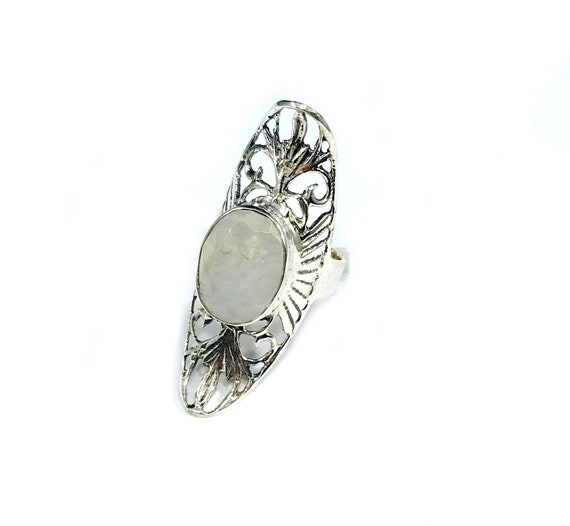 HUGE Statement MOONSTOON Filigree Sterling Silver Artisan Magical Mystical Magickal Oval Cutout Ring Boho Bohemian Chic Size 6