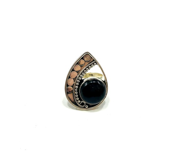 SILVER Art Deco Labradorite Mid Century Modern Style STATEMENT Cocktail Cutout Ring Boho Chic Geometric Round Black Stone Goth Jewelry