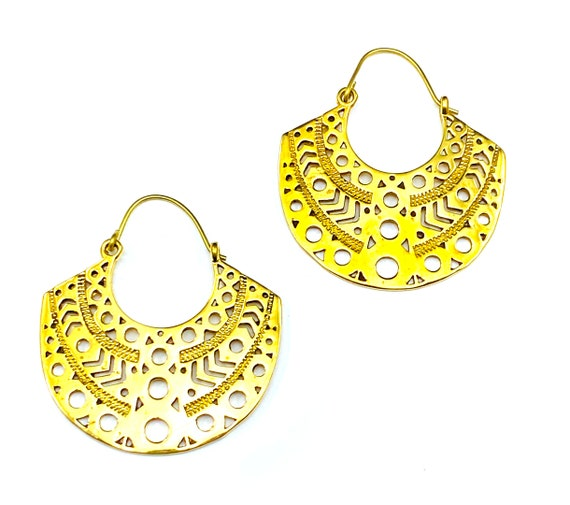 GOLD Tone BRASS Earrings Half Hoop Cut Out Cutout Artisan Indian Earrings Unique Boho Bohemian Chic Jewelry