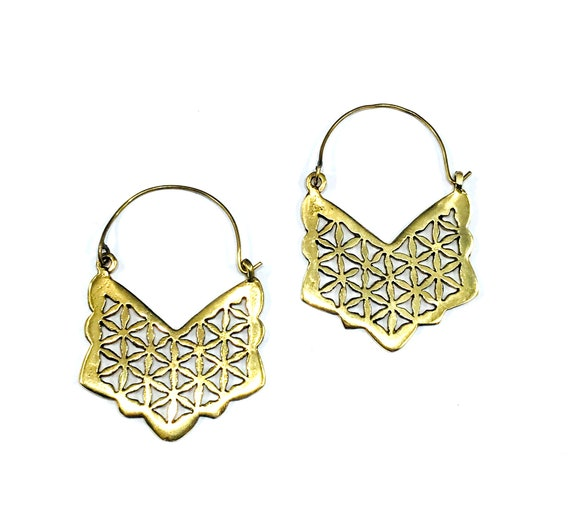 Gold Tone Brass Cutout Triangle Earring Hoops Hoop Artisan Indian Middle Eastern