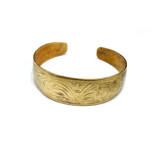 Vintage Afghan Middle Eastern Tribal Nomad Brass Metal Cuff Bracelet Jewelry Etched Carved Boho Bohemian Chic
