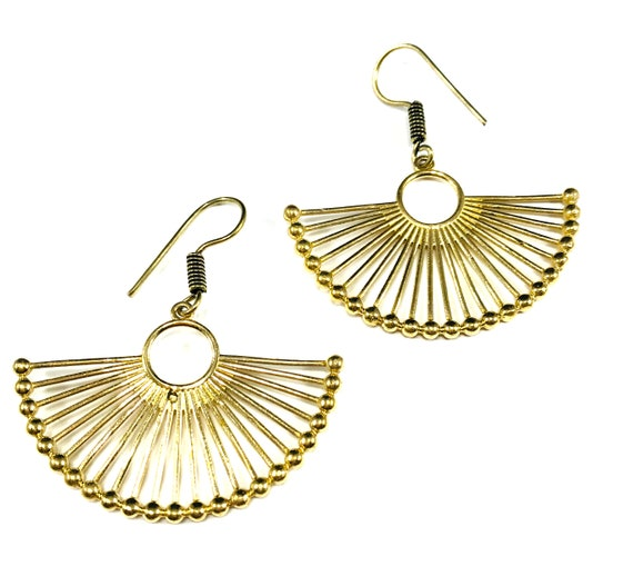 GOLD Tone Color BRASS Bead FAN Art Deco Drop Dangle Earrings Indian Middle Eastern Boho