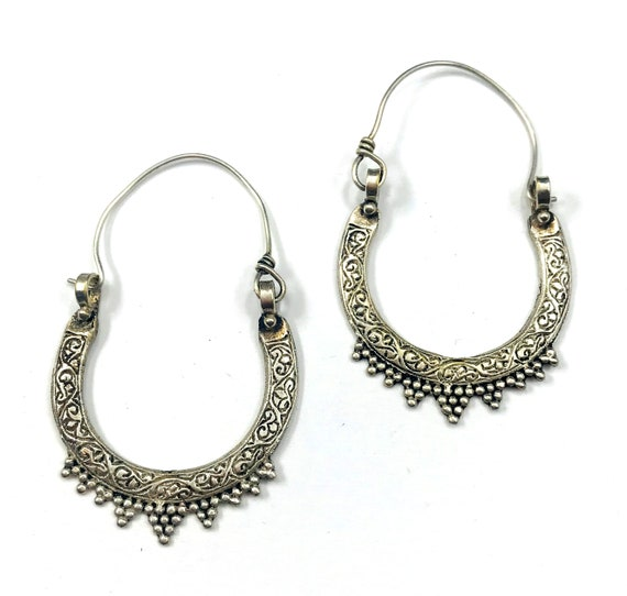 Vintage Afghan Middle Eastern Carved Etched Spiked Tribal Hoop Earrings Jewelry Boho Bohemian