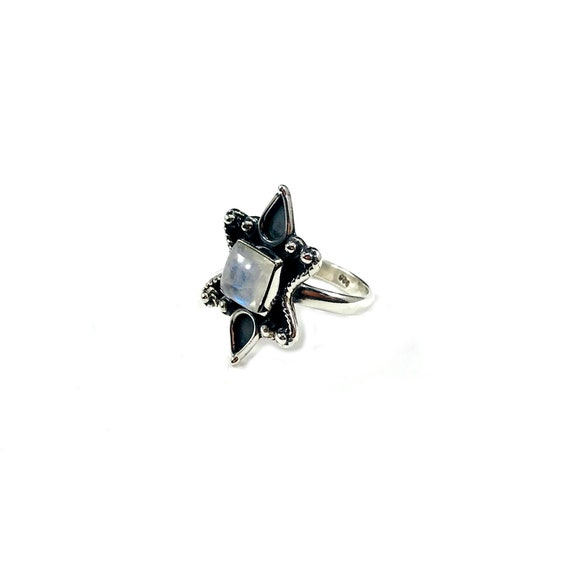 Witchy Magical Mystical MOONSTONE Statement Ring Sterling SILVER Boho Bohemian Tribal Spiked Spikes Jewelry Size 5.5