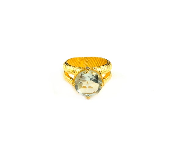 GOLD Tone Brass Ring Green AMETHYST Gemstone Cocktail Statement Holiday Ring Split Shank Double Band Etched Design Size  8