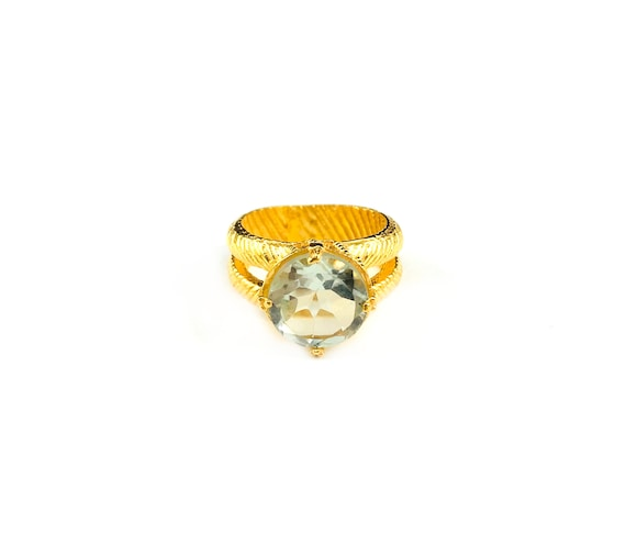 GOLD Tone Brass Ring Green AMETHYST Gemstone Cocktail Statement Holiday Ring Split Shank Double Band Etched Design Size 6 7 8 S