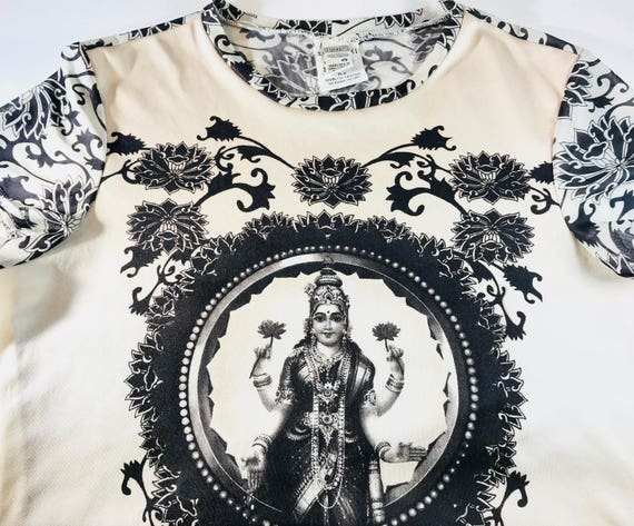 Vintage 90s 90's Z. Cavaricci Hindu Indian Goddess Baby Tee T-shirt Tshirt Boho Indie Rock Shirt Top Beige Nude Color Small X-Small XS S
