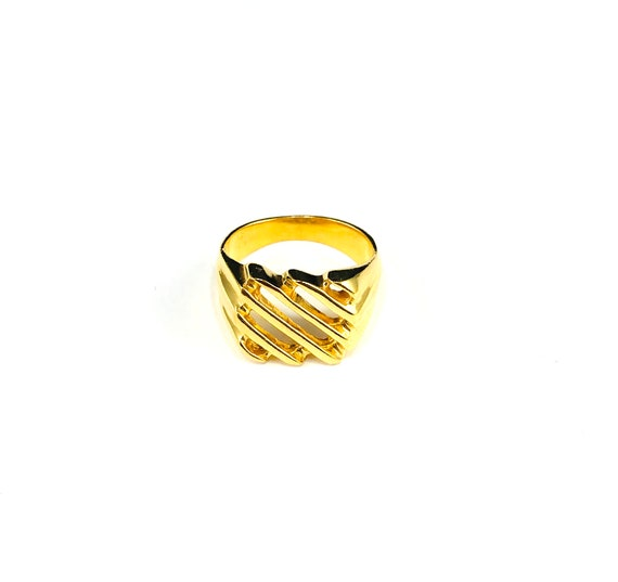GOLD Tone Color Brass Metal Cutout Cut Out SIGNET Statement Chunky 80's 90's Style Ring Sizes 6 7 8