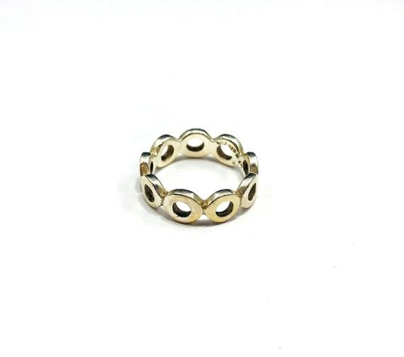 Vintage SILVER Circle Chain Cutout Ring Geometric Round Boho Bohemian Vintage Chic Size 8