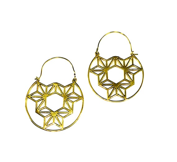 GOLD Tone BRASS Cutout GEOMETRIC Constellation Cut Out Hoop Circle Earrings Hoops Middle Eastern Indian Mystical Metal Tribal Boho