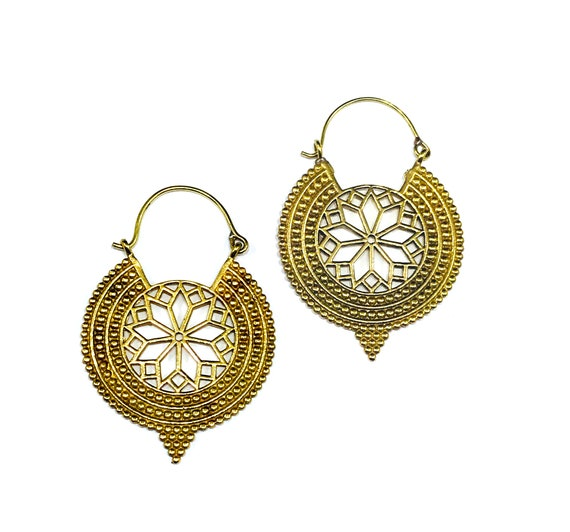 Handmade GOLD Tone Brass Metal Artisan Indian Middle Eastern Intricate Cutout Hoop Earrings Boho Boho Chic Tribal Bohemian Gypsy