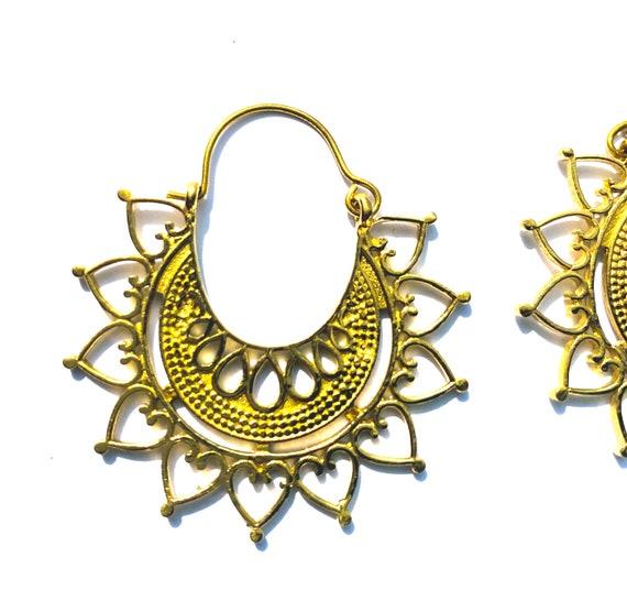 GOLD Tone Brass DETAILED Gorgeous Artisan Indian Earrings Boho Bohemian Chic