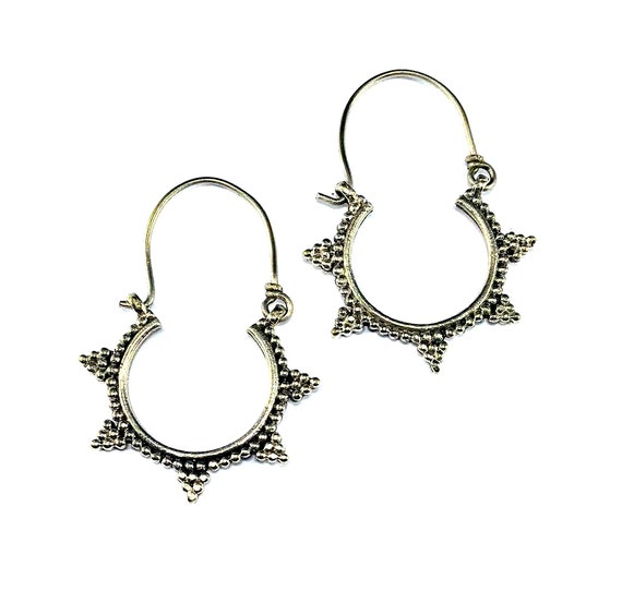 Vintage Afghan Middle Eastern Silver Tone Metal Tribal Boho Bohemian Spike Earrings Hoop