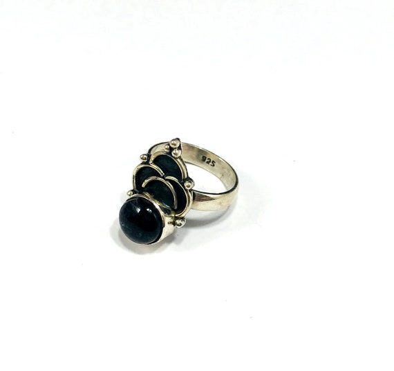 SILVER Stamped Black Quartz Onyx Color Crown Carved Ring Small Pinky Size 4.5 Boho Hippie Stylish Unique