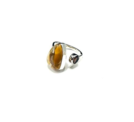 Sterling Silver TIGER's EYE Smoky TOPAZ Stone Thin Band Floating Effect Ring Artisan Unique Stylish Bohemian Boho Size 6
