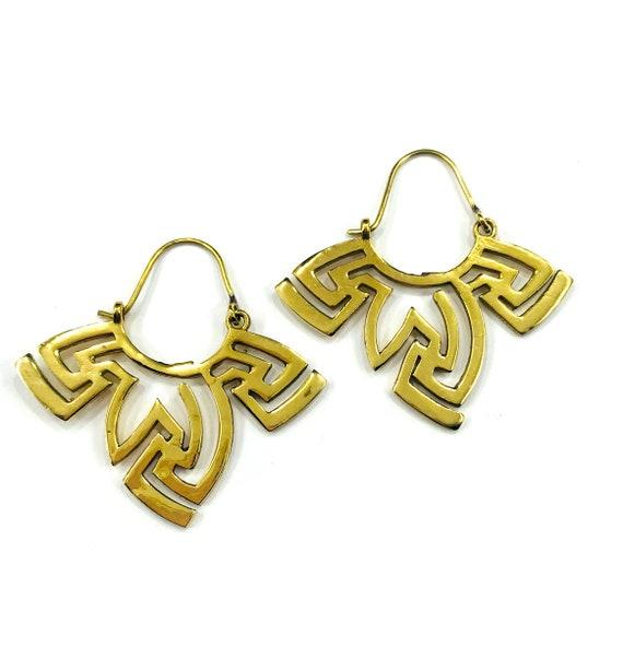 UNIQUE Cutout GOLD Color Brass Tribal Ethnic Design Earrings Jewelry Boho Bohemian Boho Chic