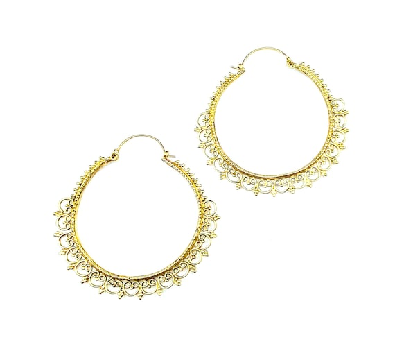 GOLD Tone Brass Filigree Detailed Artisan Earrings LARGE Hoops Unique Indian Middle Eastern Boho Hippie Chic Bohemian Jewelry