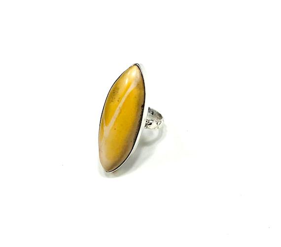 STATEMENT Mookaite Jasper Healing Stability Anti-aging Stone Ring Silver Size 6 Unique Boho Bohemian Chic Tribal Mystical