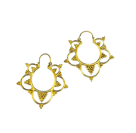 GOLD Tone BRASS Lotus Flower MANDALA Petal Hoop Hoops Earrings Metal Boho Artisan Statement Jewelry Indian Middle Eastern