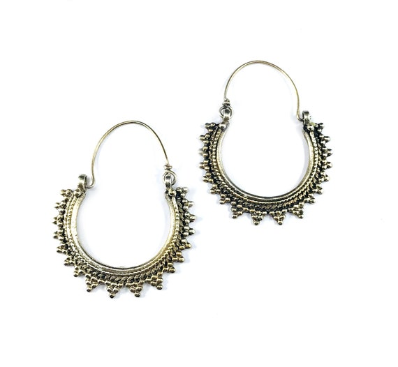 Vintage SILVER Tone Color Metal Afghan Middle Eastern Hoop Earrings Tribal Nomad Artisan Hoops Boho Bohemian Chic