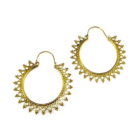 GOLD Tone Brass Metal Extra LARGE Jumbo Filigree Cutout Cut Out Middle Eastern Indian Hoop Earrings Jewelry
