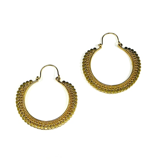 GOLD Color Tone BRASS Middle Eastern Indian Hoop Earrings Artisan Circles Rounded Boho Hippie Chic Bohemian Stylish