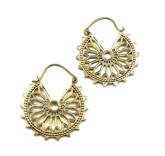 GOLD Color Brass Cutout HOOP Earrings Middle Eastern Indian Jewelry Stylish Boho Chic Pierced Bohemian Fashion