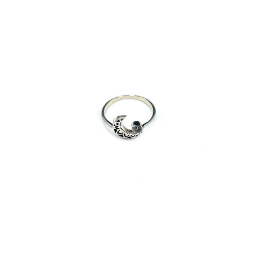 Crescent Moon MOONSTONE Healing Magickal Magical Mystical Small Stone Thin Band Bohemian Chic Ring Size 6 7.5