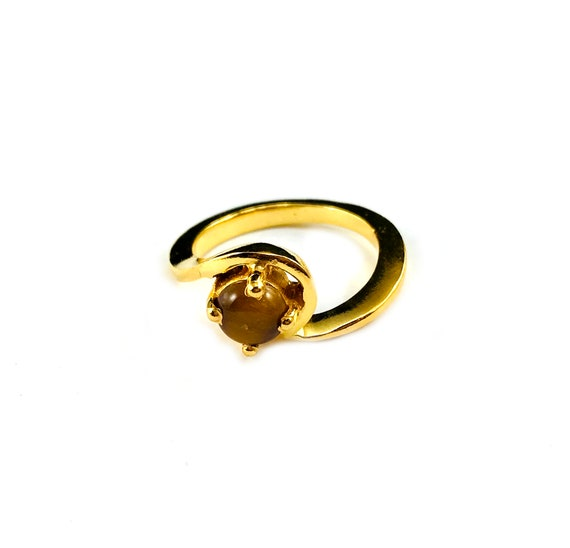 GOLD Plated Minimalist Asymmetrical Shape TIGER's EYE Stone Stackable Ring Size 6 7 8