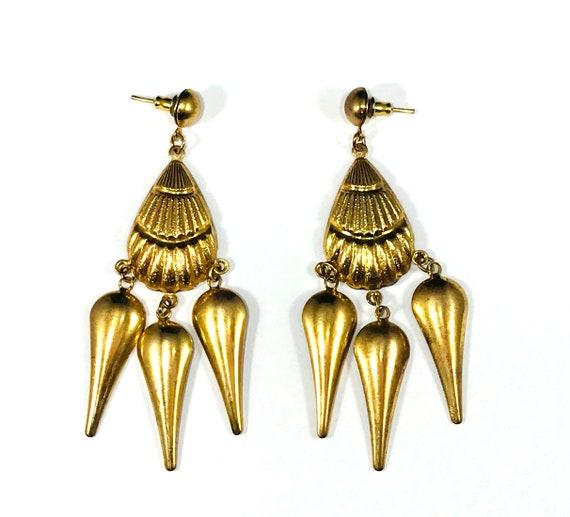 Vintage Brass Metal Tribal Chandelier Earrings Gold Color Ethnic Art Boho Chic Unique