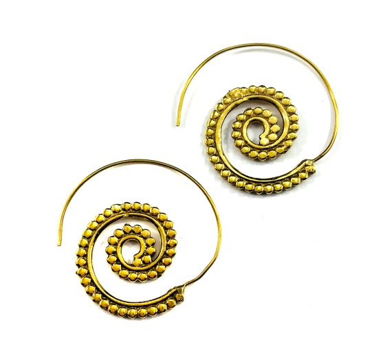 GOLD Color Brass Dot SPIRAL Hoop Earrings Pierced Metal Indian Middle Eastern Artisan Boho Chic Bohemian Metal Wire Jewelry