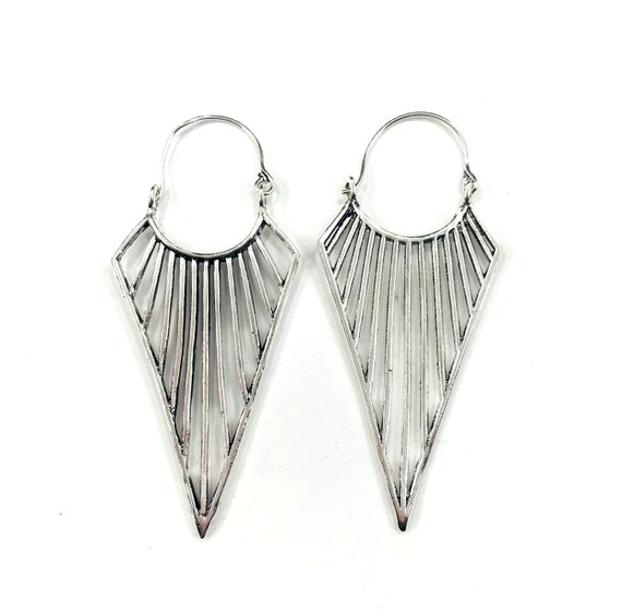 SILVER Color SPIKE Brass Metal Punk Goth Tribal Earrings Gypsy Boho Bohemian Jewelry Pierced Spiked