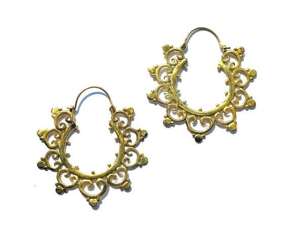 ORNATE Artisan GOLD tone Brass Hoop Earrings Indian Design Boho Hippie Chic